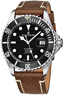Revue Thommen Mens Automatic Diver Watch - 42mm Analog Black Face with Luminous Hands, Magnified Date and Sapphire Crystal - Black Diving Bezel Swiss Made Waterproof Dive Watch 17571.2537