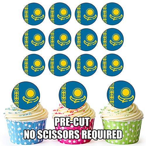 Kazachstan Vlag - 24 Eetbare Cupcake Toppers/Verjaardag Cake Decoraties - Easy Precut Circles