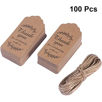 Baby Shower Tags for Favors Thank You Gift Tags 100 Pieces Brown Fancy Frame LabelsThank You So Much Paper Gift Gags for Wedding Themed Party Favors 1.77x3.74 Inch with 100 Feet Natural Jute Twine