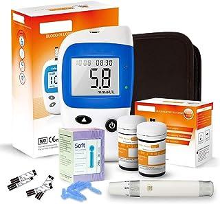 Dytxe-shelf Probador De Monitores De Glucosa En Sangre Kit De Prueba De Diabetes Kit De Prueba De Azúcar En Sangre con 50 Tiras De Prueba Sin Código, 50 Lancetas, Dispositivo De Punción