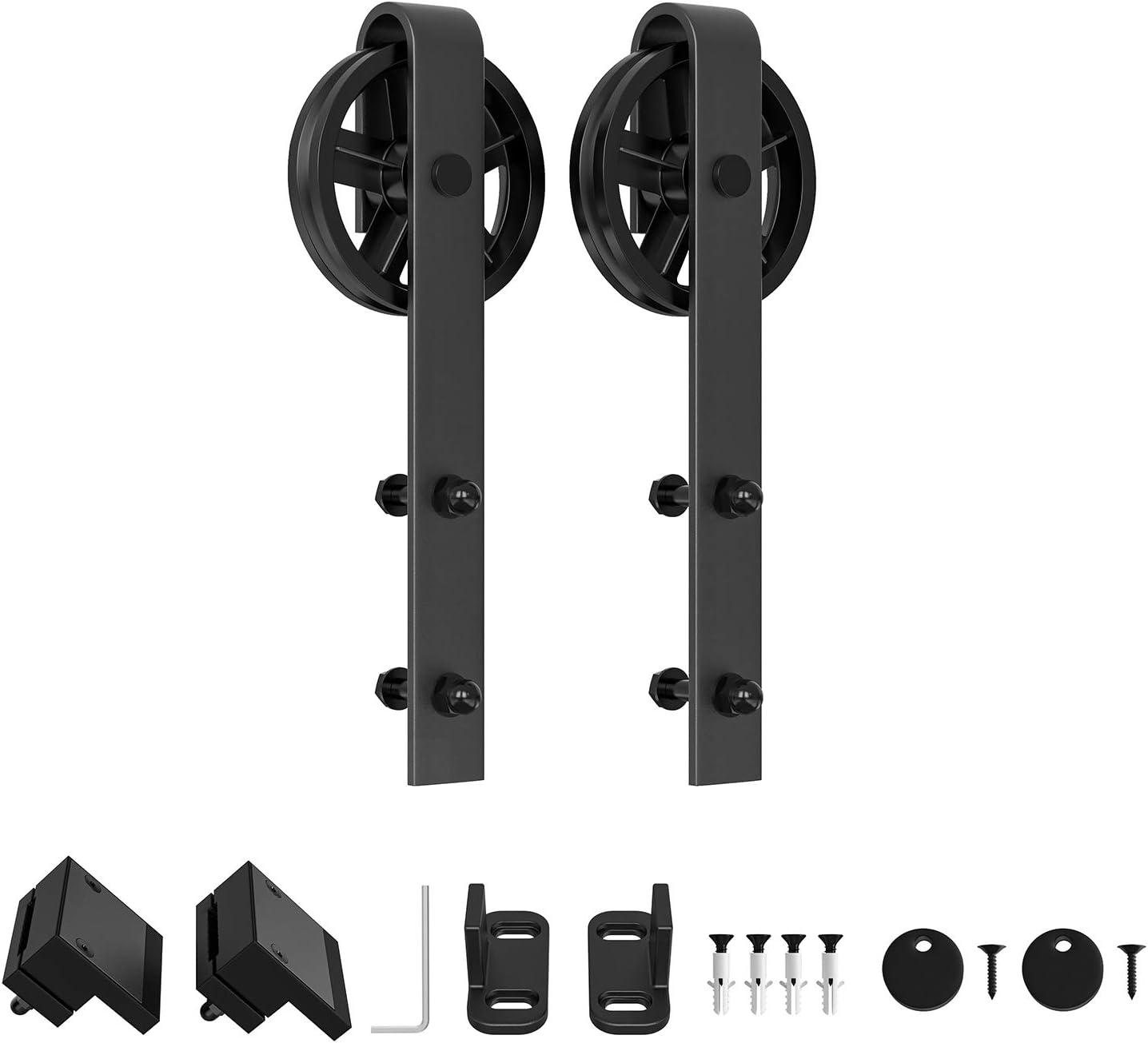 WINSOON Sliding Barn Surprise price Door Max 79% OFF Hardware Spoke 2pcs Hangers Big Black