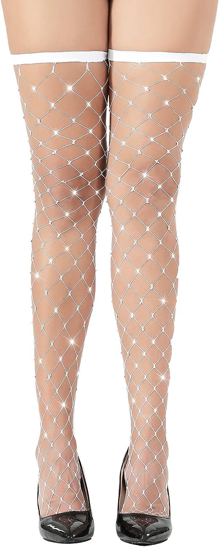 At the price GOOJES Rhinestone Fishnet Thigh High Stockings Big Net security Fish Thig