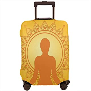 Travel Luggage Cover,Meditating Woman Silhouette On Yellow Asian Style Backdrop Yoga Zen Decor Suitcase Protector