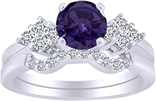 Solitaire Bridal Ring Set in 14k White Gold Over Sterling Silver
