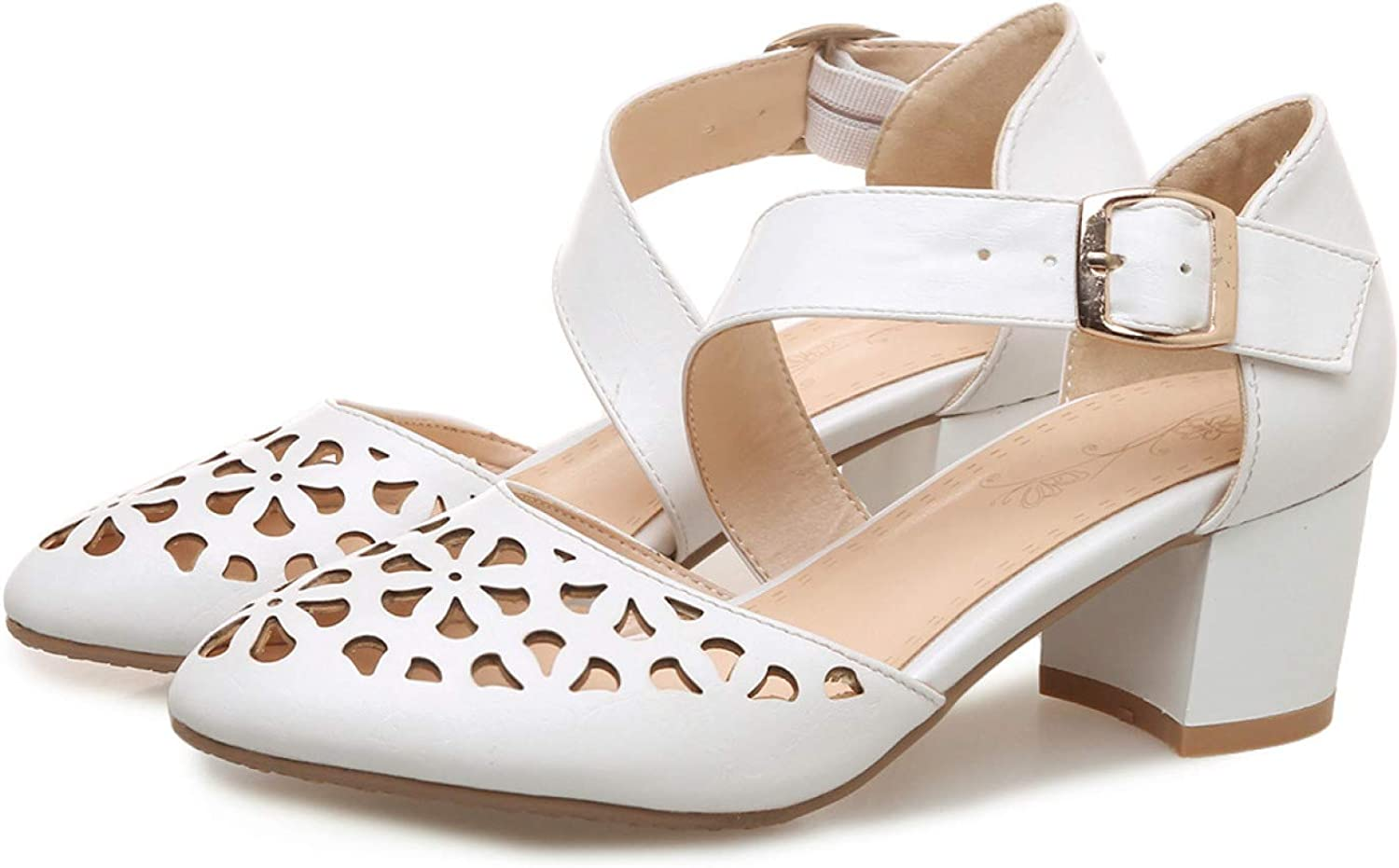 Women's Hollow Out Pointed Toe Sales results No. 1 Max 40% OFF Cross Strap Mid Chunky Heels Pump