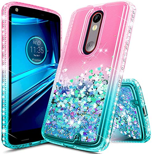 E-Began Case for Motorola Droid Turbo 2 (Verizon XT1585), Sparkle Glitter Flowing Waterfall Liquid Floating Quicksand Diamond, Durable Cute Case (Pink/Aqua)