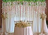 YQing Kunstblumen, künstliche Glyzinien, Heimdekoration, jeder Strang ist 110 cm lang, aus Seide, für Hochzeiten, zu Hause, Garten, Party, 12 Stück (weiß) - 3