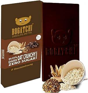 BOGATCHI Oats 99.99% Dark Healthy Chocolate Bar Crunchy Flavor , Low Carbs, Keto Chocolate, 80g