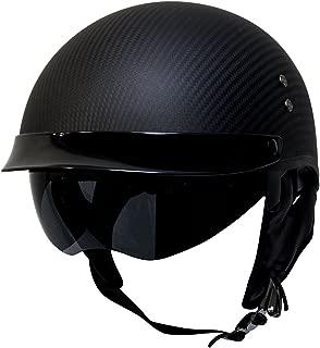 Voss 888CF Genuine Carbon Fiber DOT Half Helmet with Drop Down Sun Lens and Metal Quick Release - M - Matte Carbon