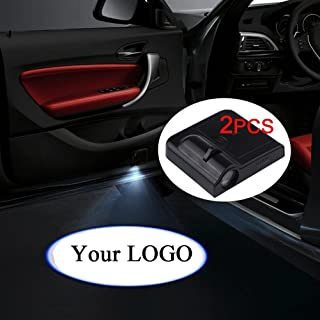 Fangfei 2x Custom Logo Wireless Laser Projector Car Door Step Courtesy Welcome Lights Puddle Ghost Shadow Led Lights (Custom your logo)