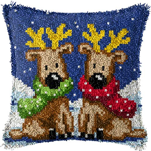 Latch Hook Kits DIY Throw Pillow Cover with Printed Reindeers Pattern Needlework for Kids/Adults 17'' x 17''