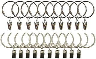 Pack of 20 Easy to Open and Close Solid Metal Curtain Ring with Hook,Movable Clasp Suitable for Fixed and Not Fixed Pole Curtain Rings/Hooks Set Drape,Heavy Drapery,Silver Large(3