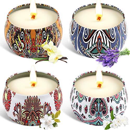 Tobeape 4 Pack Natürliches Sojawachs Duftkerze Geschenkset, Aroma Kerzen Weihnachten, Aromatherapie Kerze Candle für Weihnachten, Bad Geburtstag Yoga Jahrestag Damen Geschenke