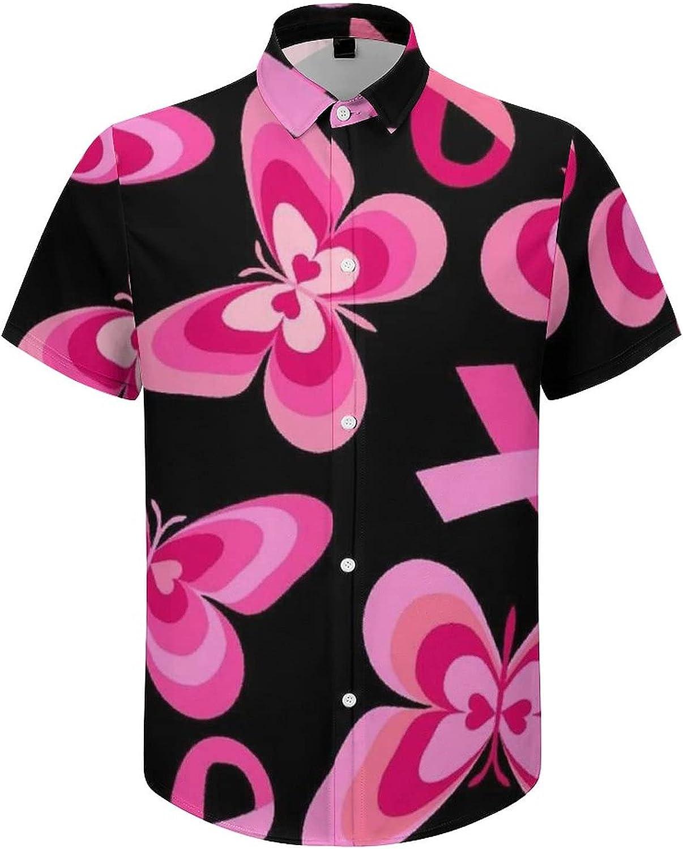 Hawaiian Shirts for Men Breat Cancer Pink Ribbons Butterfly Printed Beach Shirt Hawaiian Shirts