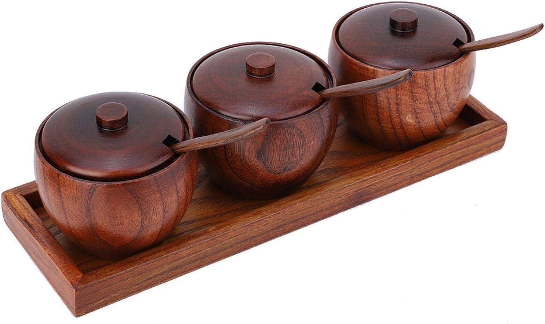 Seasoning In stock Jar Retro Wooden Spice Pot Sugar Challenge the lowest price of Japan ☆ Bowl Con Kitchen Set