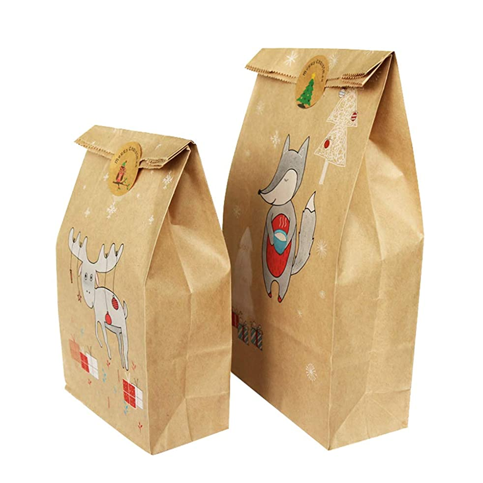 Adasea 24 Pcs Christmas Kraft Gift Bags Fox Elk Snowflake Bags Includes 12 Large 12 Small with Xmas Gifts Stickers for Wrapping