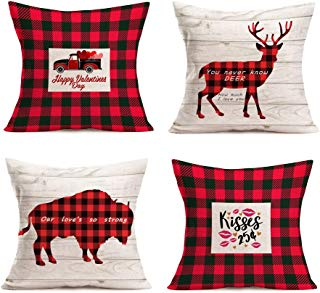 """Smilyard Quote Throw Pillow Covers 18""""X18"""" Set of 4Red Black Buffalo Plaids Pillow Coves Red Car with Heart Cushion Cover Cotton Linen Love Pillow Cases forValentine's Day/Home/Wedding/Moving Gift"""