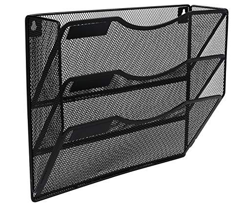 EasyPAG Office 3 Pocket Wall File Folder Holder Hanging Organizer Metal Magazine Document Rack Black