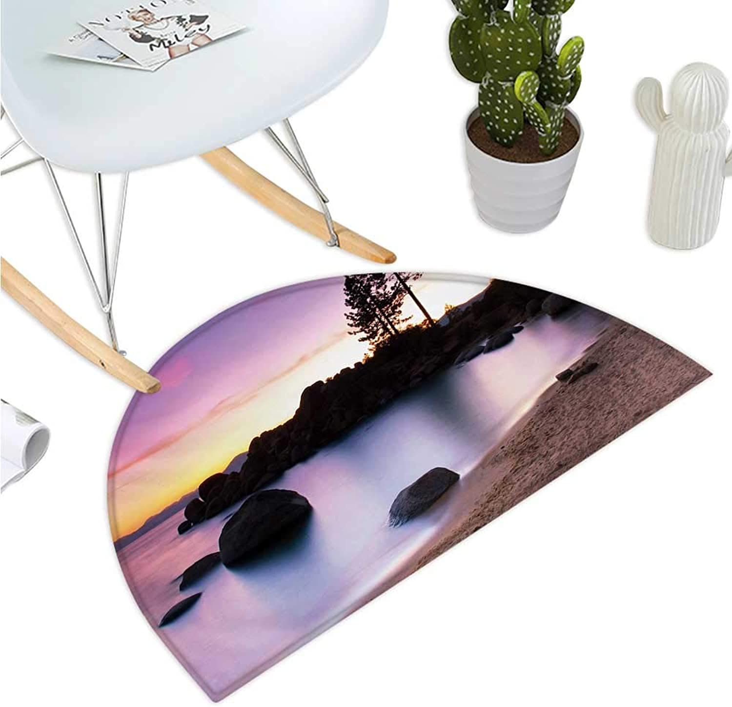 Nature Semicircle Doormat Lake Tahoe Beach at Sunset with Dreamy Purple Misty Sky Surreal Coast Scenery Entry Door Mat H 43.3  xD 64.9  Dark Brown Peach