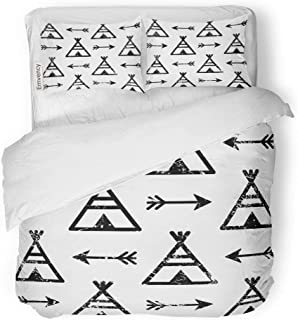 Emvency 3 Piece Duvet Cover Set Brushed Microfiber Fabric Breathable Teepee and Arrows Aztec Indian Repetitive Native American Apache Tribal Bedding Set with 2 Pillow Covers Full/Queen Size