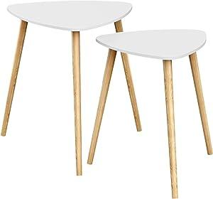 SONGMICS Set di 2 Tavolini da caffè, in Stile Scandinavo, Tavoli Triangolari con Gambe in Legno di Pino Massello, Bianco e Naturale, LET17WN