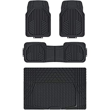 Basics 4-Piece All-Season Heavy Duty Rubber Floor Mat Set with Cargo Liner for Cars, SUVs, and Trucks
