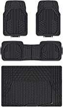 AmazonBasics - Alfombrilla de goma ultrarresistente para coches, todocaminos y camiones hecha para todas las estaciones (4 unidades, con protector de maletero)