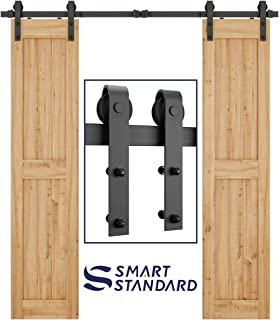 SMARTSTANDARD 6.6ft Heavy Duty Single Door Sliding Barn Door Hardware Kit-Smoothly and Quietly-Easy to Install-Includes Step-by-Step Installation Instruction Fit 20
