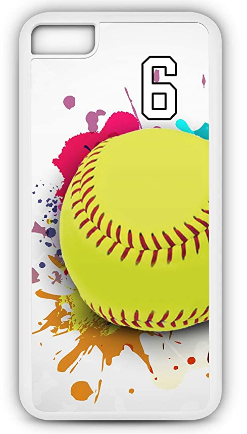 iPhone 8 Plus 8+ Case Softball S109Z Choice of Any Personalized Name or Number Tough Phone Case by TYD Designs in White Plastic and Black Rubber with Team Jersey Number 6