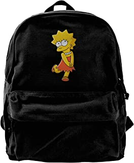Men's The Simpsons Lisa Black Background Fashion Cotton Canvas Backpacks For Outdoor Sports