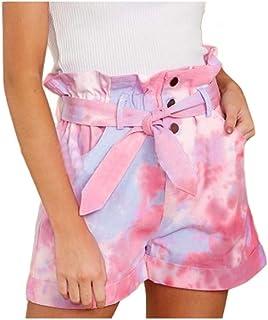 HEFASDM Women's Tie Dye Print Short Pant Summer High Waist Loose Shorts