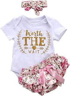 Infant Girls Letter Romper Floral Bow Shorts Headband 3pcs Clothes Set