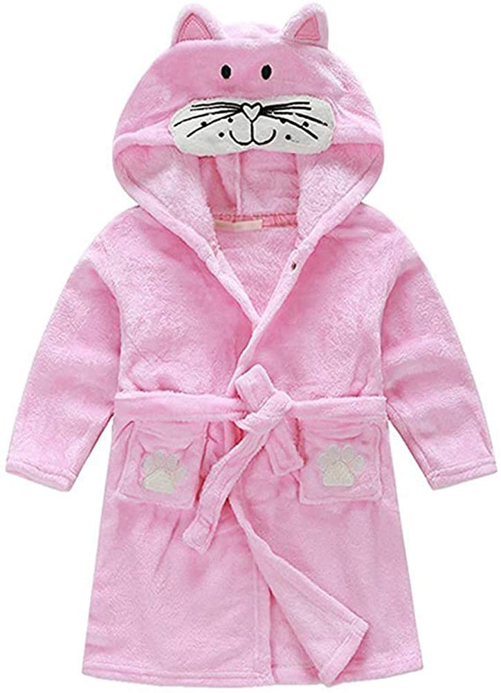 Image of Adorable Hooded Kitty Cat Robe for Toddler Girls - See More Girls Animal Robes