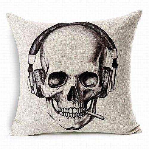 cont Beige Skull Headphone Hot Punk Skull Skeleton Printed Cushion Cover Lumbar Waist Chair Car Pad Hug Pillow Case Kissenbezüge 22x22Inch(55cmx55cm)