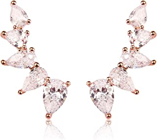 RIAH FASHION Sparkly Rhinestone Floral Ear Crawlers - Crystal Petal Leaf Branch Climber Earlobe Cuff Earrings Delicate Cubic Teardrop