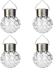 ZERIRA 4 Pack Hanging Solar Lights Outdoor, Garden Yard Decorative Hanging Light, White LED Solar Waterproof Crackle Globe...