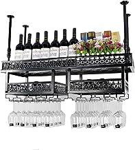 HTTJJ Hanging Wine Rack bar Retro Hanging Wine Glass Rack Cup Holder Inverted Wine Bottle Rack Floating Wine Rack Wall Han...