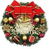 NaiCasy de Navidad Corona de Flores Artificiales Corona Colgante de Navidad, Campanas Arco, Pared medianera decoración de la Puerta Frontal