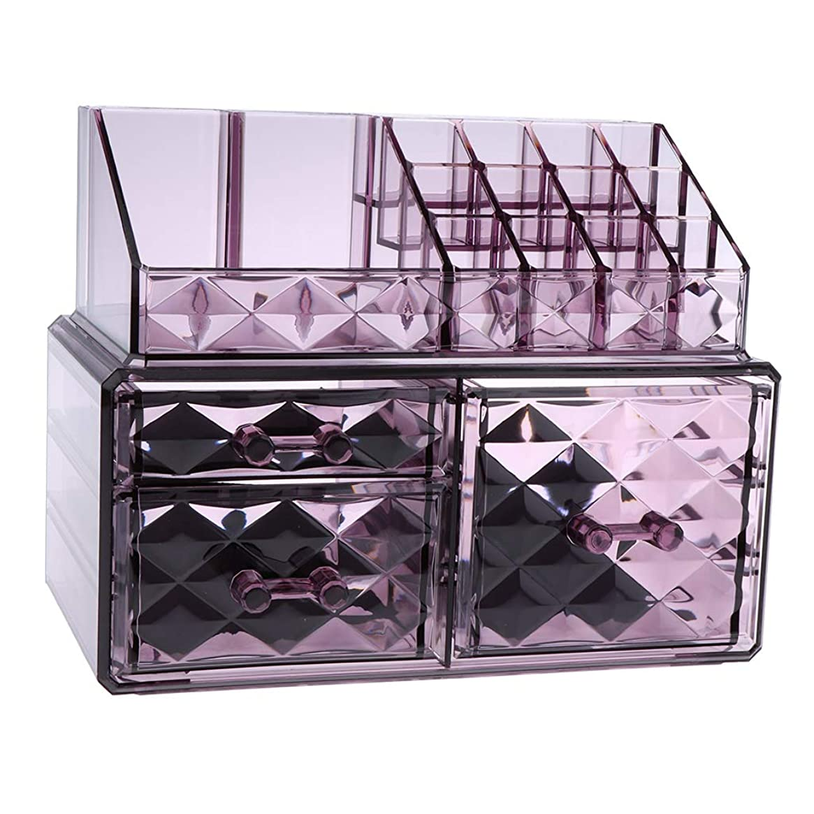 無限避けられないラッカスPerfeclan 化粧オーガナイザー アクリル メイクオーガナイザー 収納キューブ 3仕様選べ - 紫2