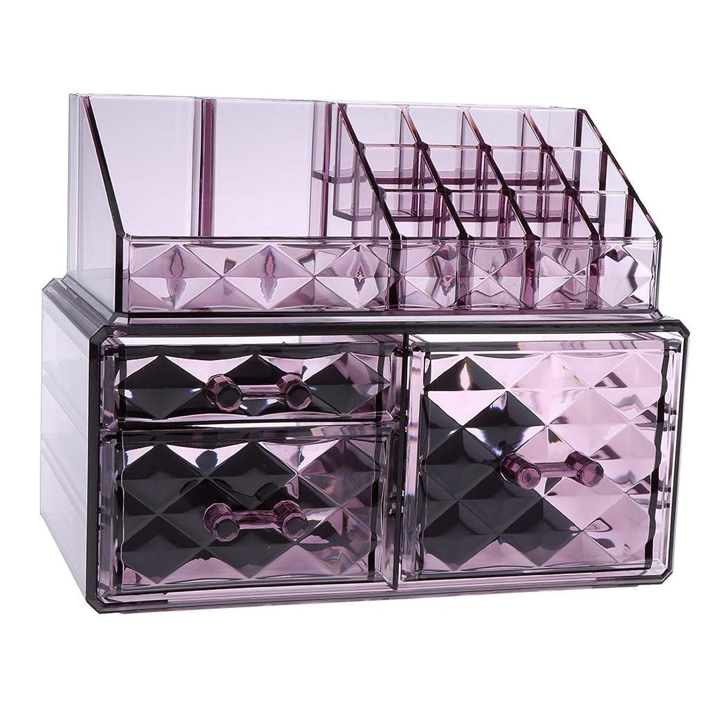 反響するラメニッケルPerfeclan 化粧オーガナイザー アクリル メイクオーガナイザー 収納キューブ 3仕様選べ - 紫2
