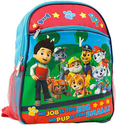 """Nickelodeon Paw Patrol 12"""" Toddler Backpack With 8 Paw Patrol Characters Pictured On Front"""