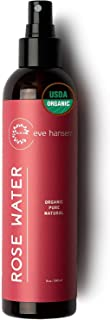 Eve Hansen Organic Rose Water Spray for Face   HUGE 8 oz Moroccan Rosewater Face Toner and Makeup Setting Spray   Soothing Neck and Face Mist to Reduce Eye Puffiness, Dark Circles and Redness