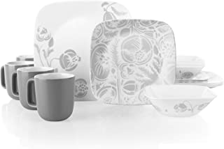 Corelle Boutique Square Night Blooms 16-Piece Chip Resistant Dinnerware Set, Service for 4
