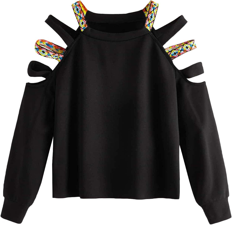 Romwe Women's Plus Size Cutout Cold Shoulder Long Sleeve Crewneck Sweatshirt Pullover Black 0XL
