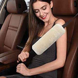 Haiy Australian Sheepskin Wool car seat Belt seat Belt Shoulder pad, More Comfortable Driving, Compatible with All Cars