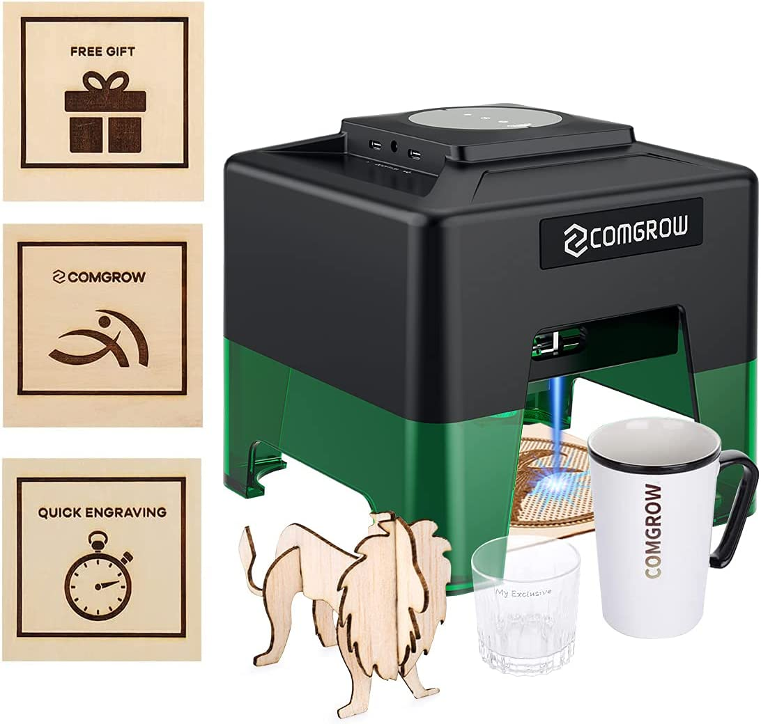 Comgrow Laser Engraving Machine Quick Engraving Mode for Dog Tag Wood Kraft Paper Card Compact Desktop Laser Carving Etcher Printer Cutter Personalized Engraving Tool
