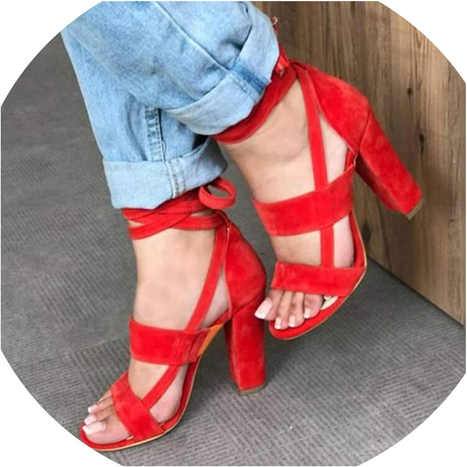 Monica's house Plus Size Female Ankle Strap High Heels shoes Thick Heel for Women Party Wedding,Red-D2312,10