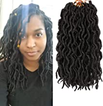 LEEONS 6Packs/Lot 12'' Boho Locs Wavy Faux Locs Crochet Synthetic Braiding Hair Nu Locs Pre-loop Crochet Braids Soft Curly Faux Locs Hair Extensions Braids Dreadlocks 20Roots/PCS(12inch,Nature Black)