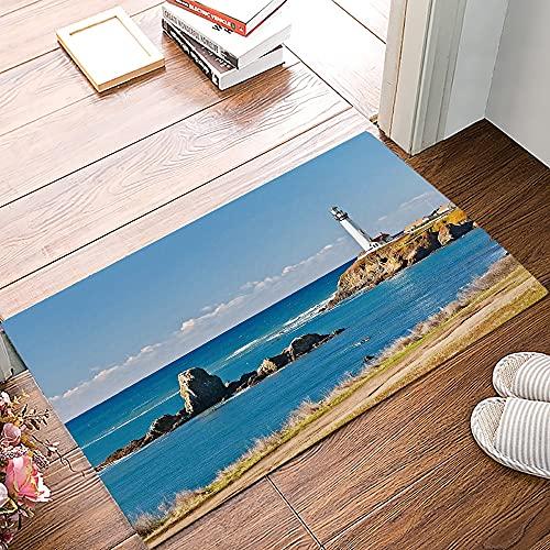 OPLJ Playa Faro Estrella de mar Gaviota Felpudo Antideslizante Dormitorio Alfombra de Cocina Alfombra de baño Alfombra de hogar para Puerta de Entrada A8 60x90cm