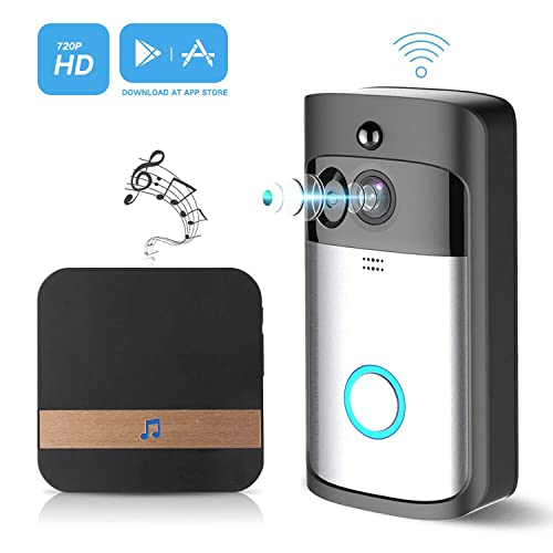 Video Doorbell,GJT Smart Doorbell 720P HD WiFi Doorbell Security Camera with Chime 8G SD Card 2 Batteries 166°Wide Angle Real-Time Two-Way Audio Night Vision PIR Motion Detection App Control